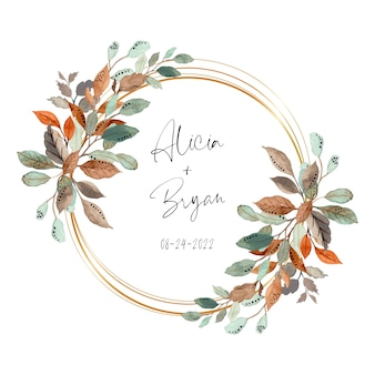 Watercolor abstract leaves wreath with golden frame