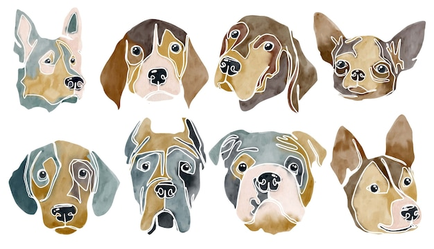 Watercolor abstract set of dogs portraits
