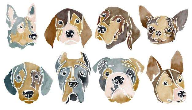 Акварель абстрактный набор портретов собак