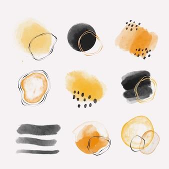 Insieme di forme astratte dell'acquerello