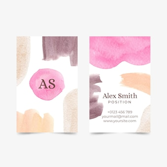 Watercolor abstract shapes business cards