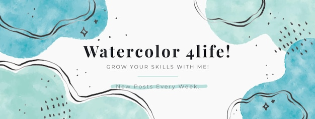 Watercolor abstract shapes facebook cover