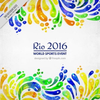 Watercolor abstract shapes rio 2016 background