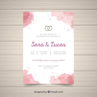 Watercolor abstract wedding invitation template