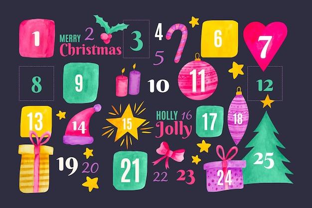 水彩アドベントカレンダー