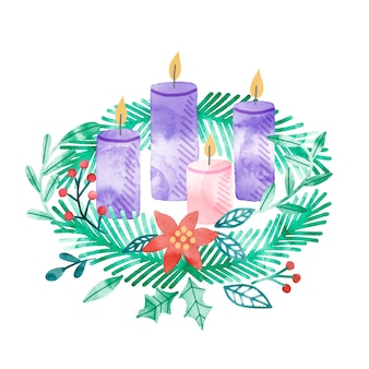 Watercolor advent wreath concept