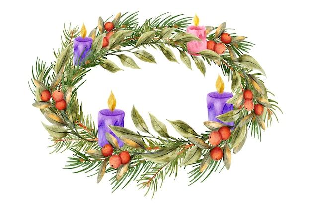 Watercolor advent wreath concept
