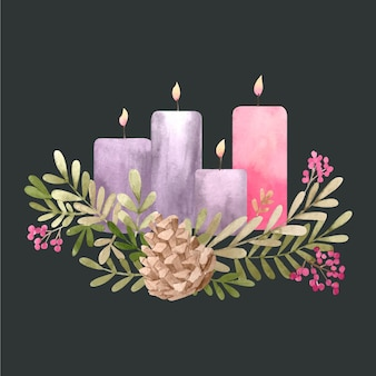 Watercolor advent wreath illustration
