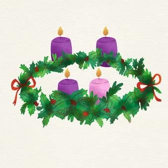 Рождественский венок акварель