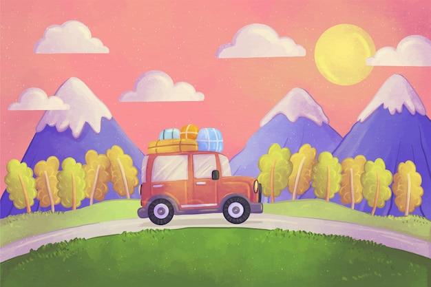Watercolor adventure background