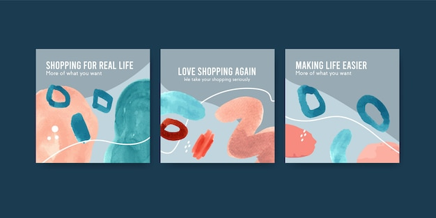 Набор шаблонов рекламы акварель