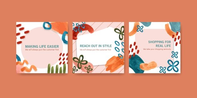 Watercolor advertise template set