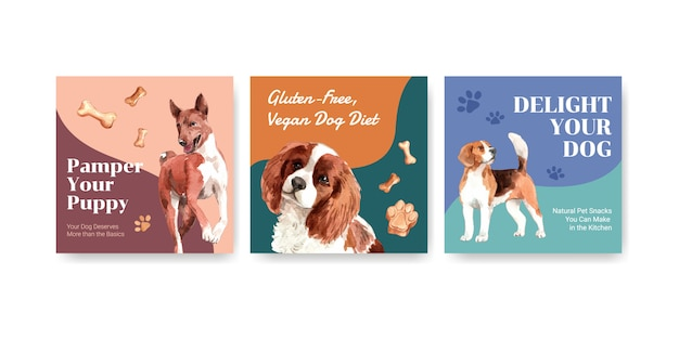 Watercolor advertise templates set with dogs and food
