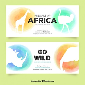 Watercolor african animals banners