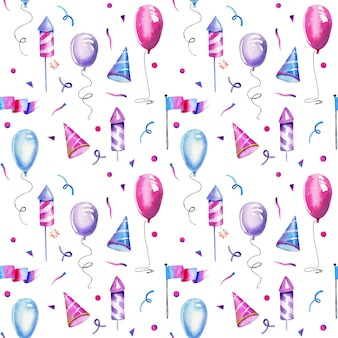 Watercolor air ballons fireworks seamless pattern
