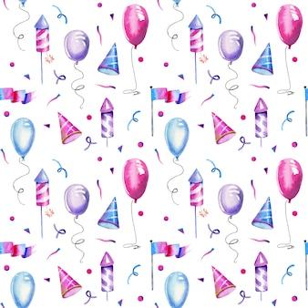 Watercolor air ballons fireworks seamless pattern