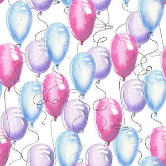 Watercolor air ballons seamless pattern