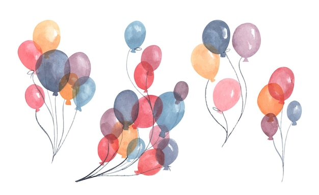 수채화 공기 풍선 파티 빨간색 파란색 보라색과 노란색 풍선의 팩 인사말 장식