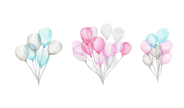 Watercolor air balloons. pack of party pink, blue, white balloons. greeting decor.