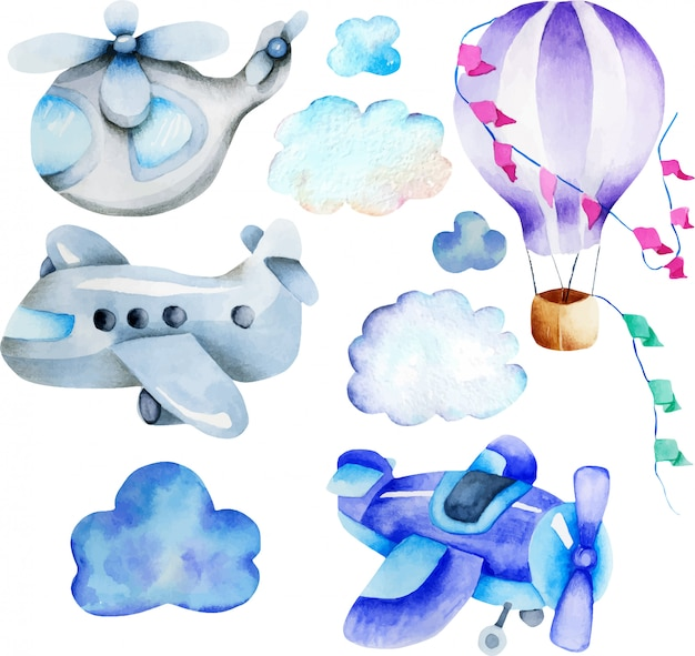 Watercolor air transport elements collection