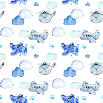 Watercolor air transport seamless pattern