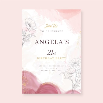 Watercolor alcohol ink birthday invitation template