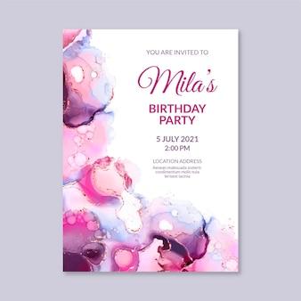 Modello dell'invito di compleanno dell'inchiostro dell'alcool dell'acquerello