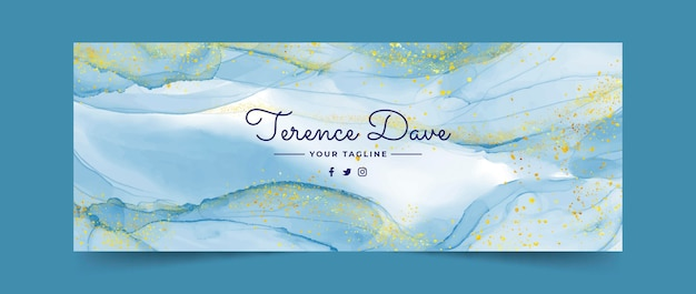 Watercolor alcohol ink facebook cover template