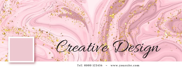 Watercolor alcohol ink social media cover template