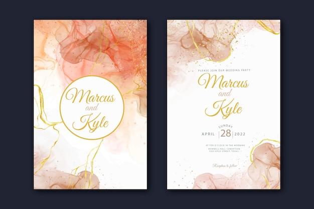 水彩アルコールインクの結婚式の招待状のテンプレート