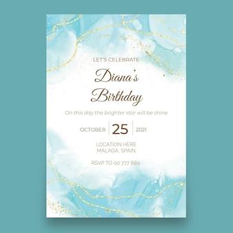 Шаблон приглашения на свадьбу с акварельными чернилами