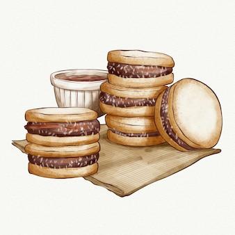 Illustrazione dell'acquerello alfajor