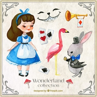 Watercolor alice in wonderland characters and elements