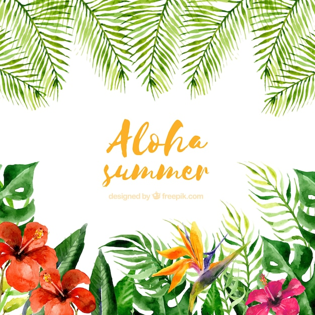 Free Watercolor Aloha Summer Background With Plants And Flowers Svg Dxf Eps Png Free Download Cut Files Svg Png Dxf