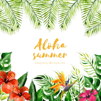 Watercolor aloha summer background with plants and flowers