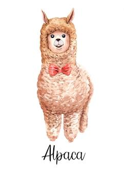 Watercolor alpaca cartoon with ribbon