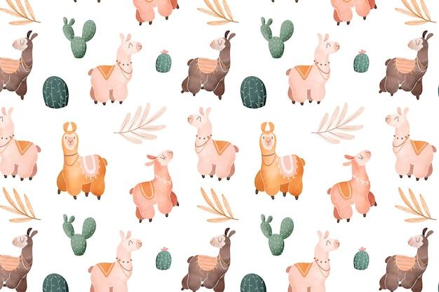 수채화 알파카 패턴