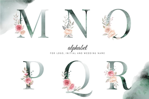 Watercolor alphabet set of m, n, o, p, q, r with beautiful floral.