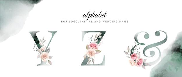 아름다운 꽃과 y, z의 수채화 알파벳 세트.