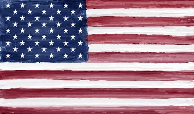 水彩のアメリカ国旗