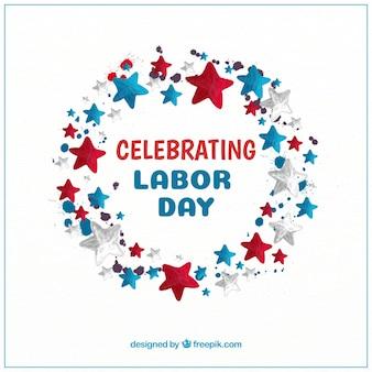 Watercolor american labor day composition