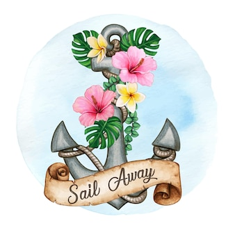 Watercolor anchor decorated with tropical flowers and scroll