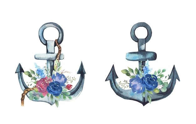 Watercolor anchor with flowers bouquets.