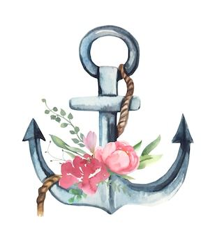 Watercolor anchor with flowers.