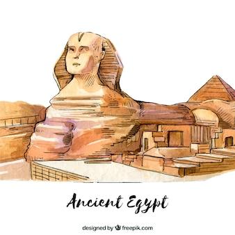 Watercolor ancient egypt composition