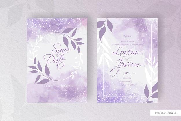 手描きの液体水彩画と抽象的な手描きの動的流体と水彩と花の結婚式の招待カードテンプレート