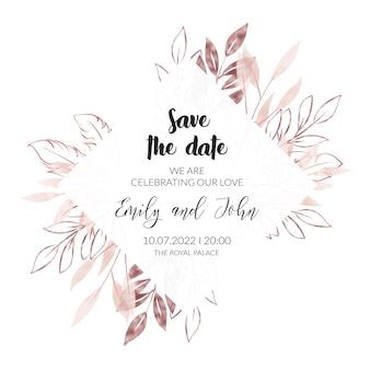 水彩とローズゴールドの花の結婚式の招待カード