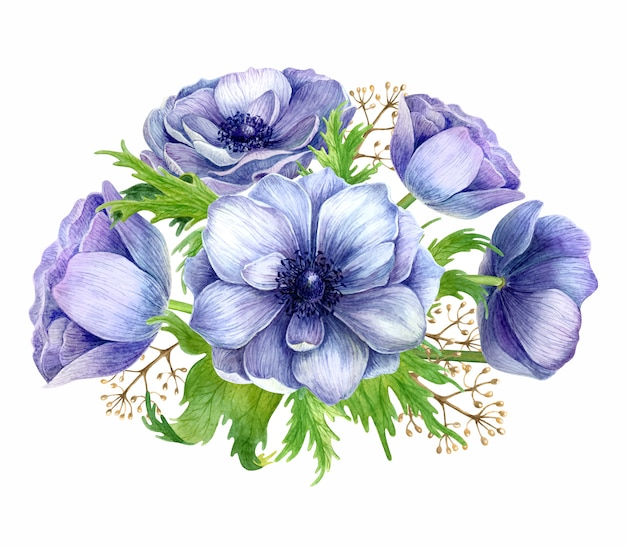 Watercolor anemone bouquet.