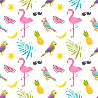 Watercolor animal floral leaves seamless pattern background