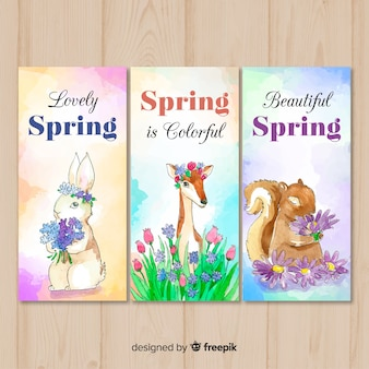 Watercolor animal spring banner